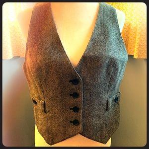 Herringbone wool blend vest